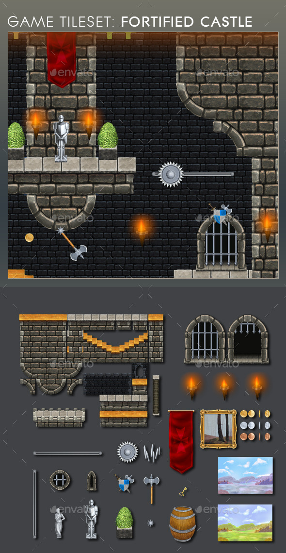 GraphicRiver Platform Game Tileset 12 Fortified Castle 9108948
