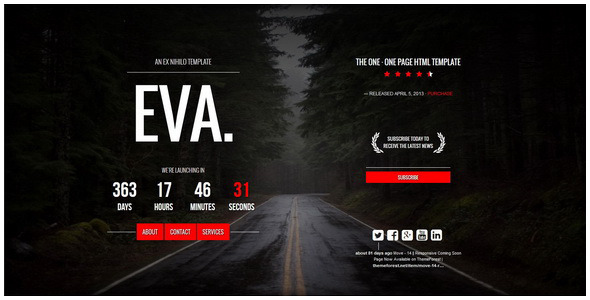ThemeForest EVA Responsive Coming Soon Page 9132292