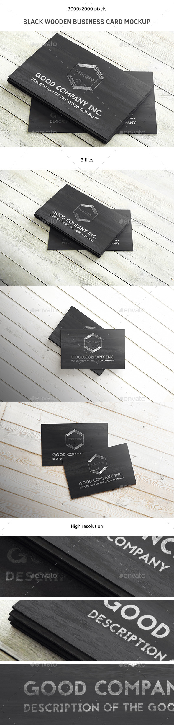 Black Wooden Business Card Mockup