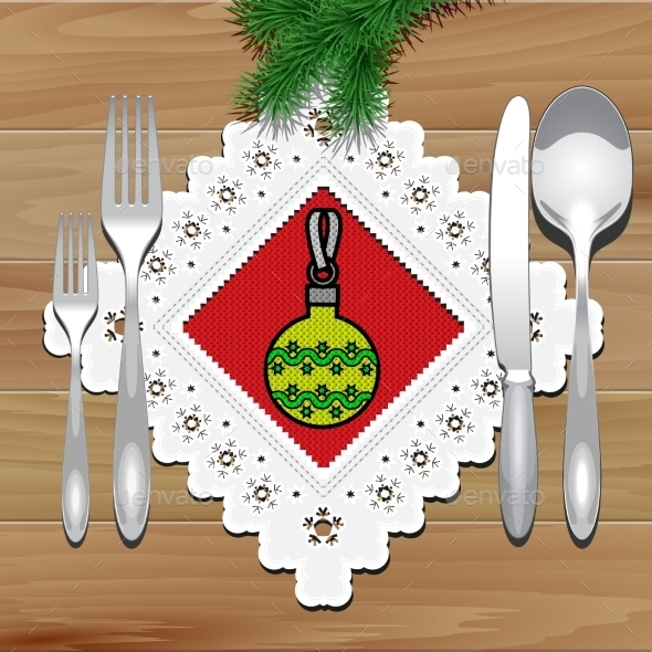 GraphicRiver Christmas Napkin Table 9132428