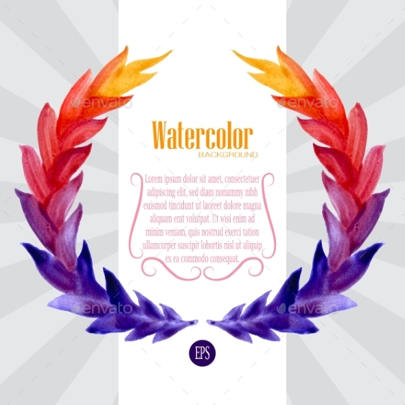 GraphicRiver Watercolor Template with Wreath of Colorful Leaves 9132830
