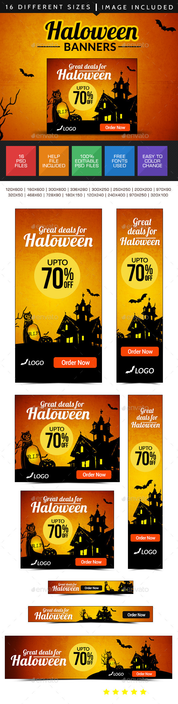 GraphicRiver Halloween Sale Banner Design Set 9133906