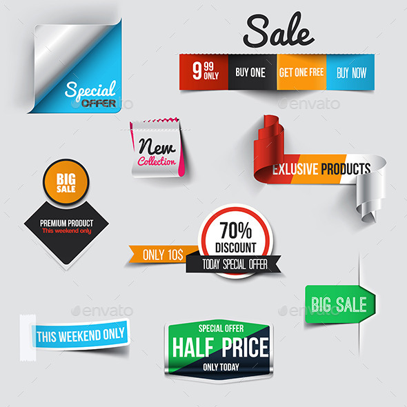 GraphicRiver Collection of Sale Discount Styled Origami Banners 9134995
