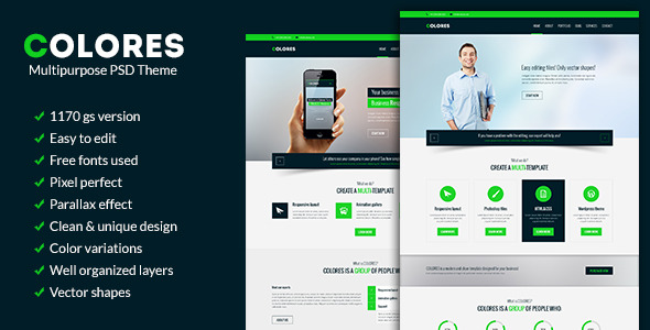 Colores - Multipurpose PSD Theme