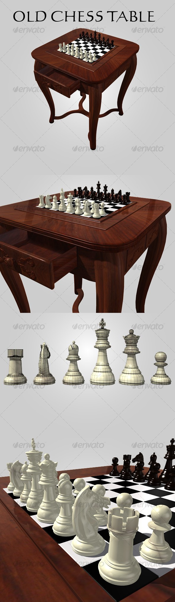 Old Chess Table - 3DOcean Item for Sale