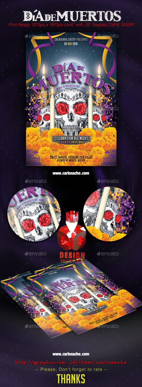 GraphicRiver Dia de Muertos Flyer Template 9107737
