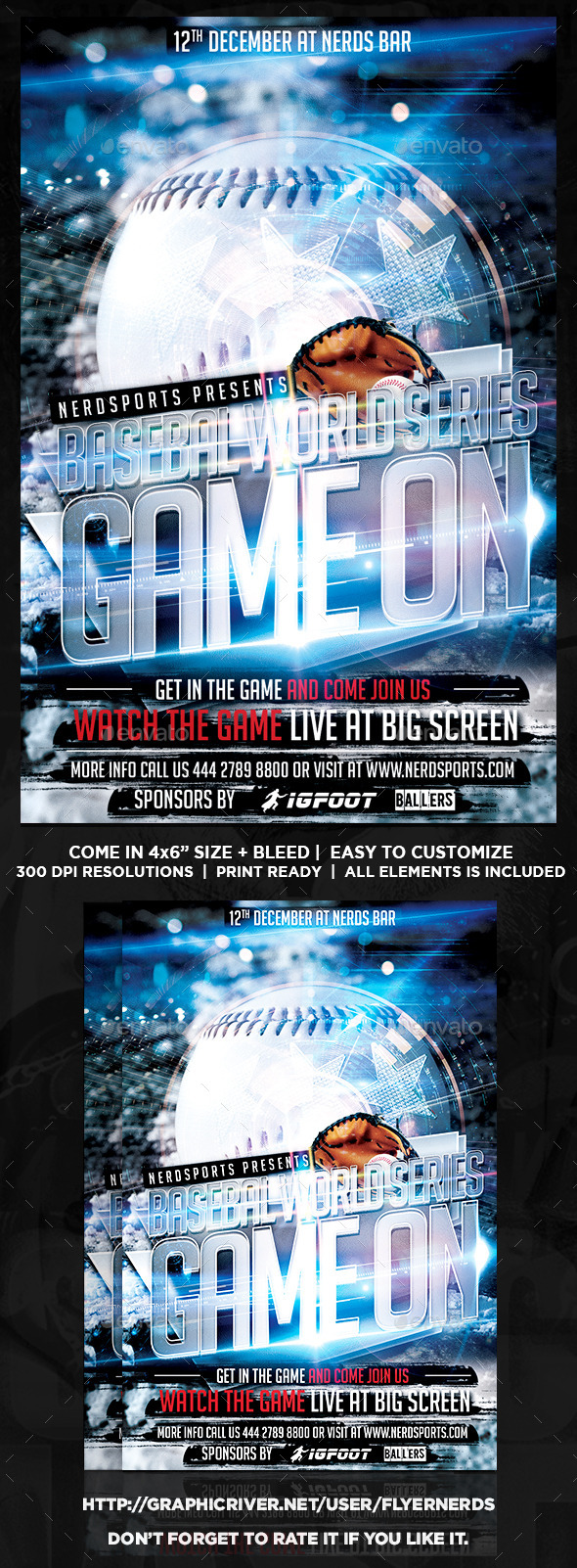 GraphicRiver Game On Baseball Flyer 9135564