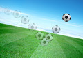 movement of soccerball and beautiful blue sky - PhotoDune Item for Sale