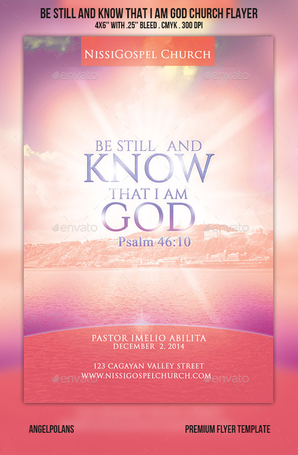 GraphicRiver Be still and know that I am God Church Flyer 9135852