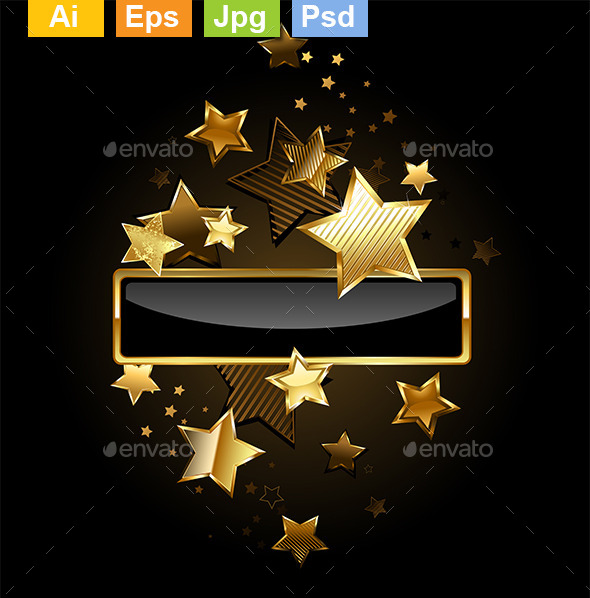 GraphicRiver Rectangular Banner with Gold Stars 9123057