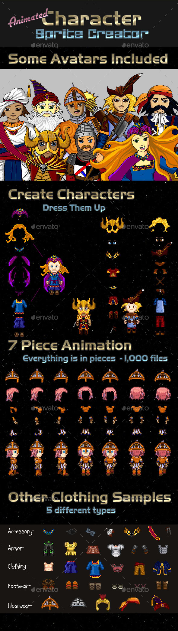GraphicRiver Animated Pixel Character Creator 9136235