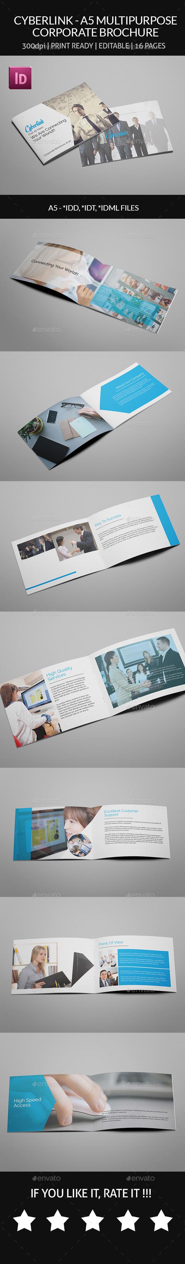 GraphicRiver Cyberlink A5 Multipurpose Corporate Brochure 9136323
