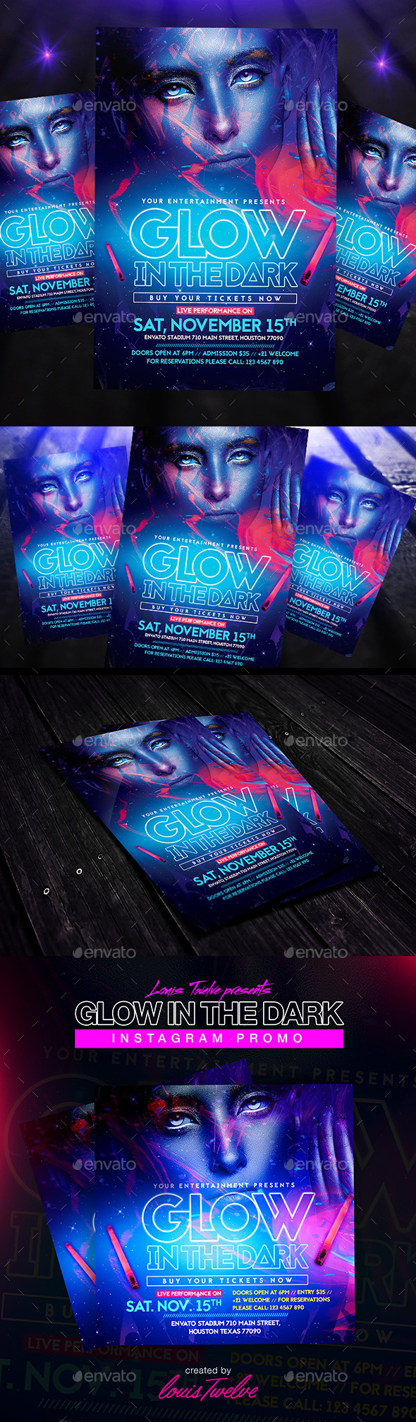 Glow in the Dark | Flyer + Instagram Promo - Clubs and Parties Events