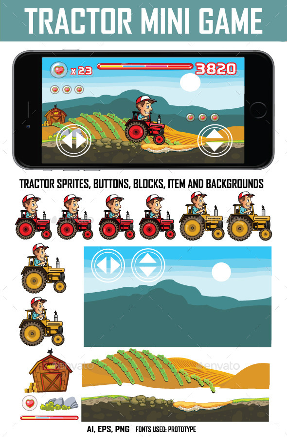 GraphicRiver Tractor Mini Game Kit 9136531