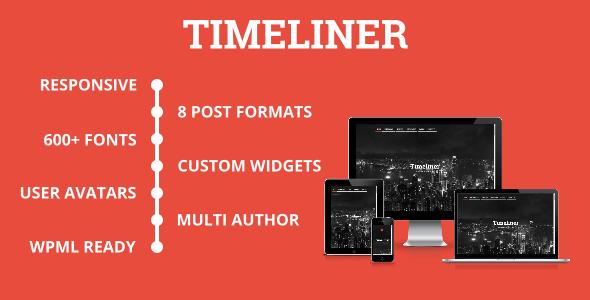 ThemeForest Timeliner Responsive Timeline Blogging WP Theme 9136659
