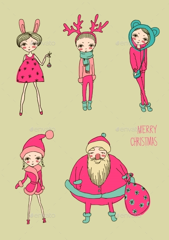 GraphicRiver Christmas Girls Set 9137311