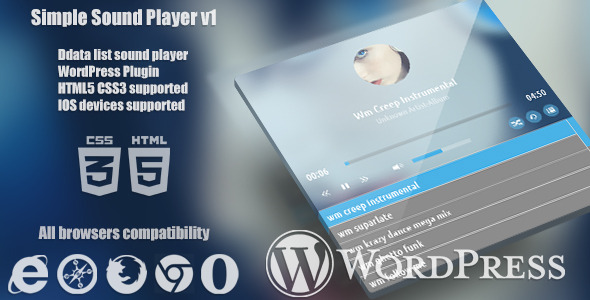 Simple Standalone Player HTML5 for WordPress This is a wordpress plugin sound player standalone work only in modern browsers which support html5, easy embed in