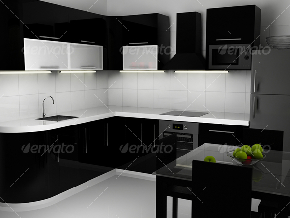 3D Models - Black and white kitchen interior | 3DOcean