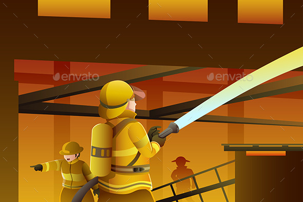 GraphicRiver Firefighters Putting out the Building on Fire 9137719