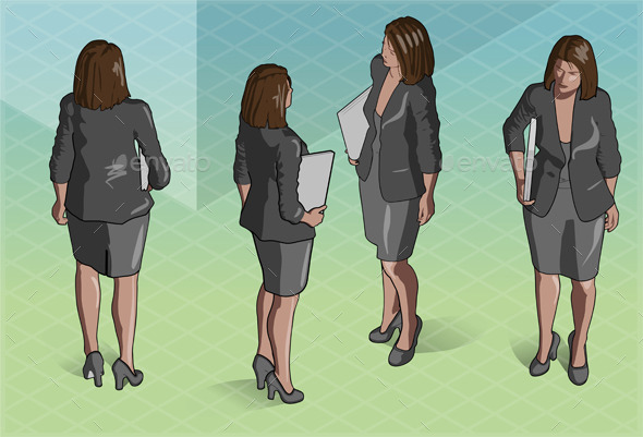 GraphicRiver Isometric Woman Secretary Standing 9137777