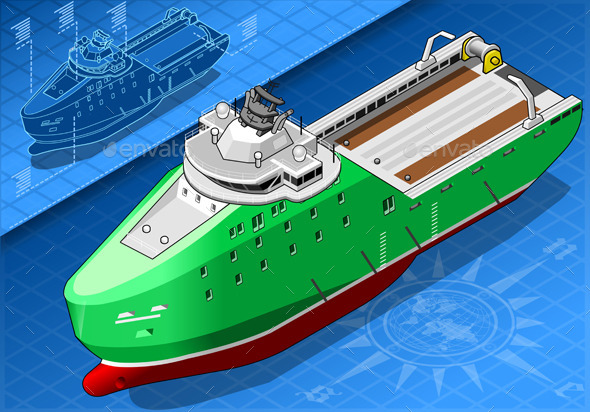 GraphicRiver Isometric Ship Breaking the Ice in Front View 9137814