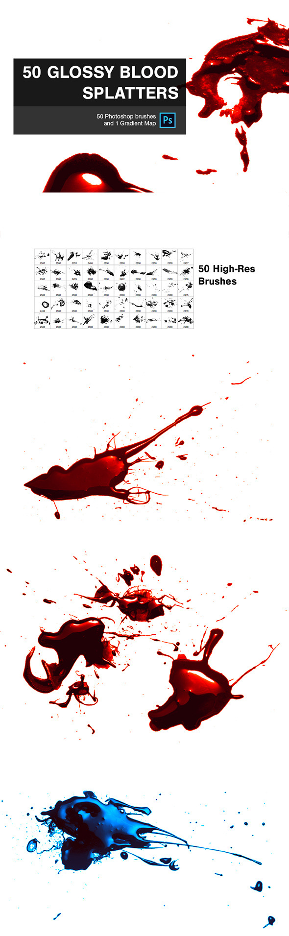 GraphicRiver 50 Glossy Blood Splatters 9137863