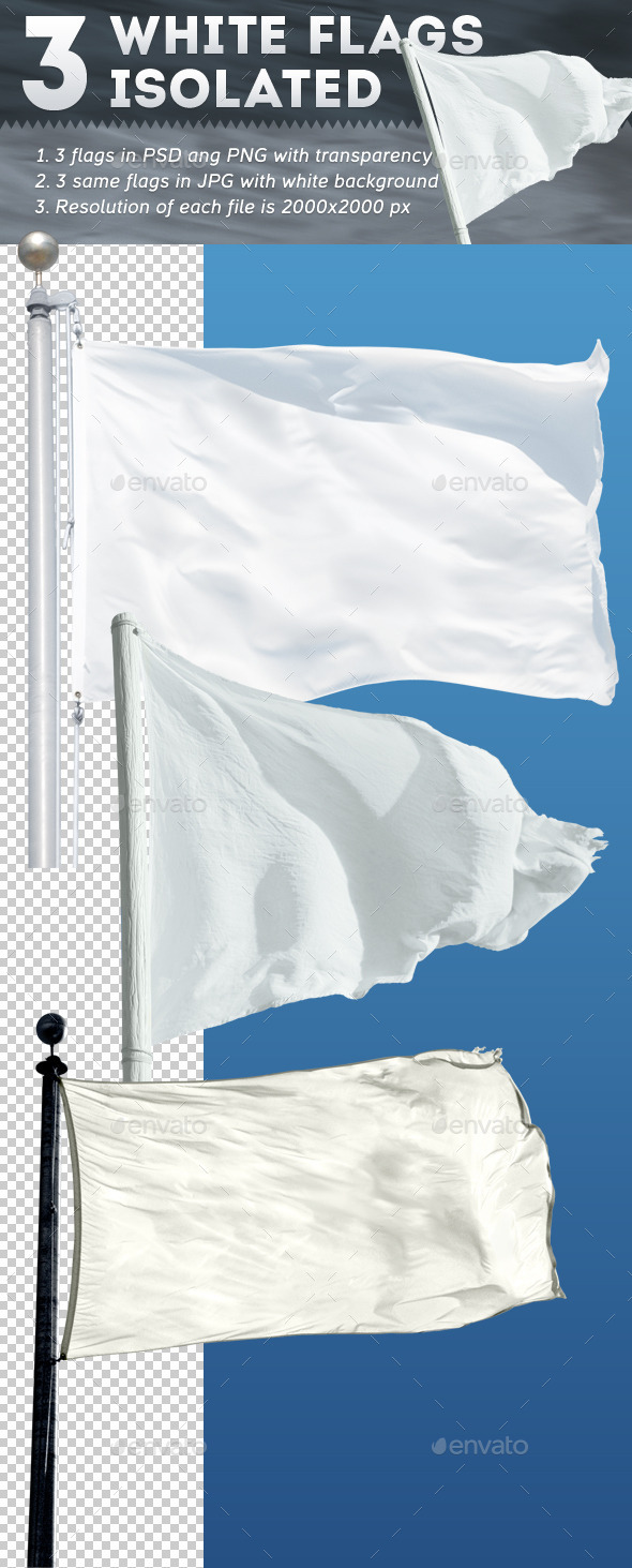 GraphicRiver 3 White Flags Isolated 9120848
