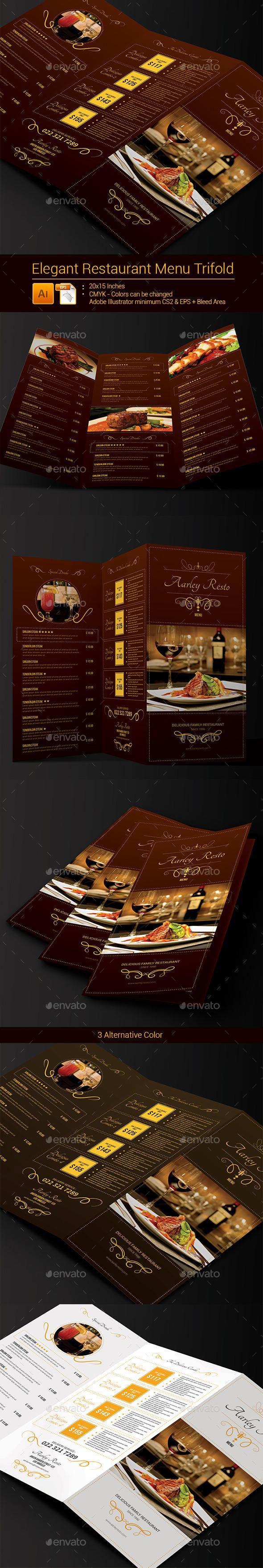 GraphicRiver Elegant Restaurant Menu Trifold 9137918