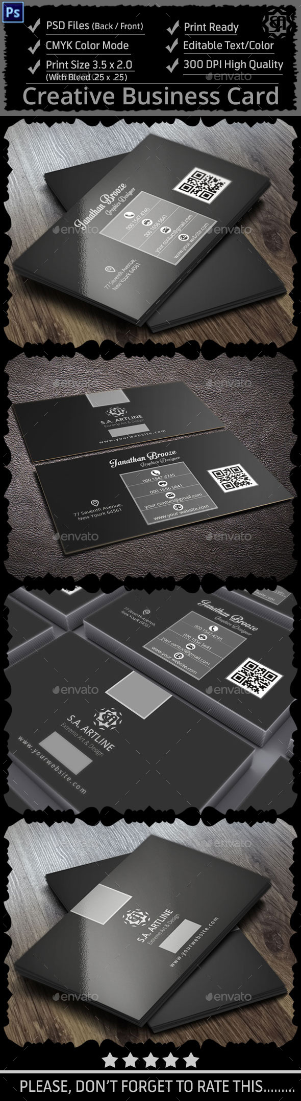 GraphicRiver Black & White Creative Business Card 9137996