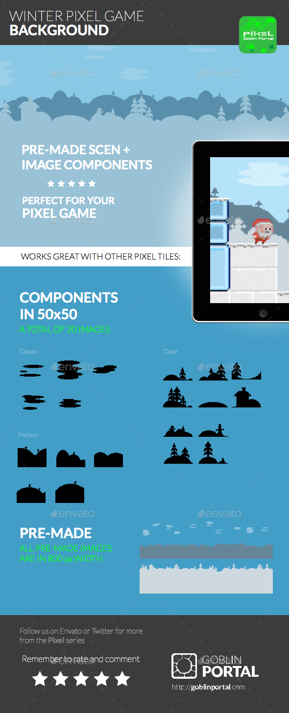 GraphicRiver Winter Pixel Game Background 9118145