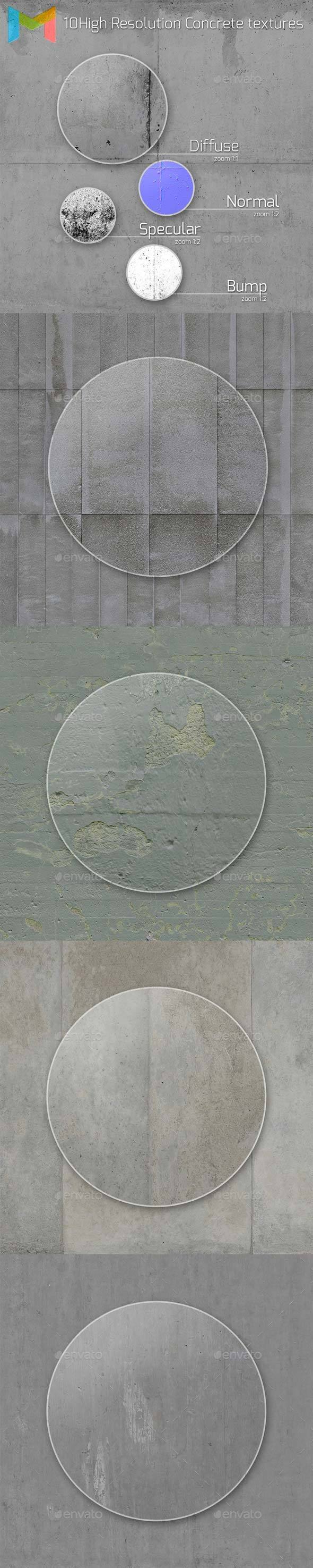 10 HQ Concrete textures - 3DOcean Item for Sale