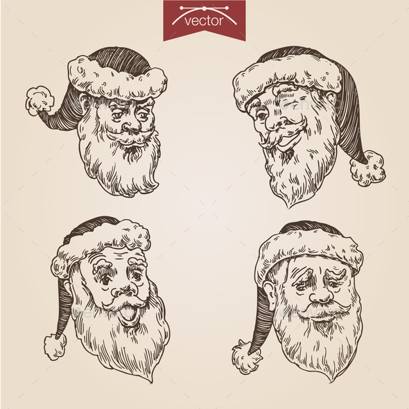 GraphicRiver Christmas Santa New Year Handdrawn Engraving Style Template 9139161