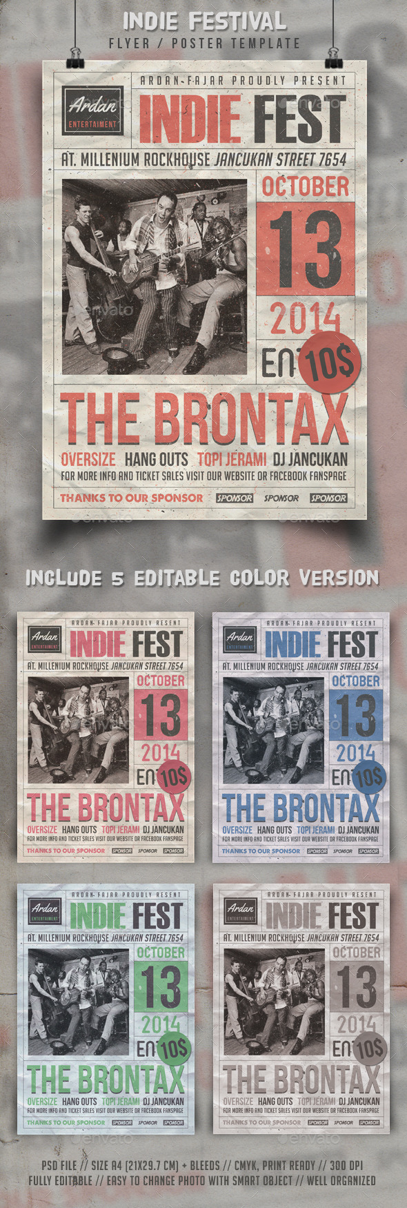 GraphicRiver Indie Fest Flyer Template 9139216