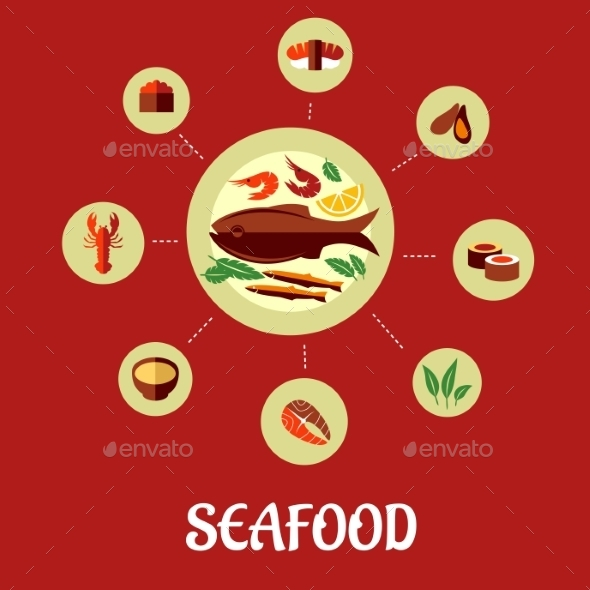 GraphicRiver Seafood Flat Infographic Design 9139419