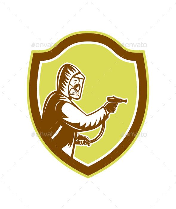 GraphicRiver Pest Control Exterminator Spraying Shield Retro 9139772