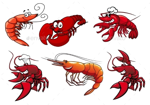 GraphicRiver Seafood Characters of Shrimp Prawns and Lobsters 9139847