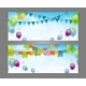 Party Banner with Flags and Balloons - GraphicRiver Item for Sale