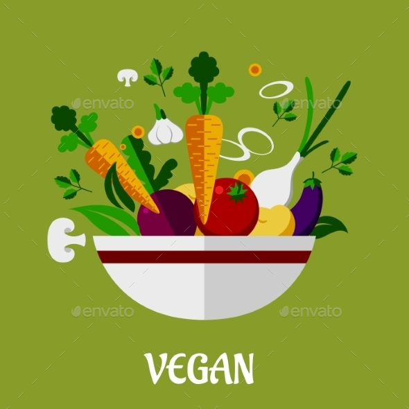 GraphicRiver Colorful Vegan Poster with Flat Vegetable Icons 9140236