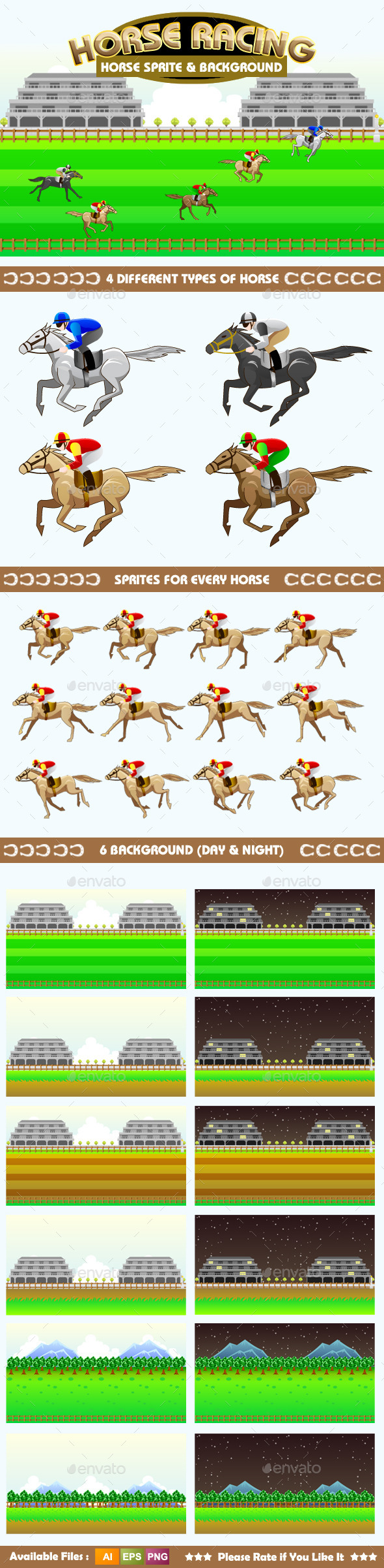 GraphicRiver Horse Racing Sprite & Background 9140241