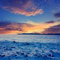 Winter mountain landscape and beautiful sunrise, vintage look - PhotoDune Item for Sale