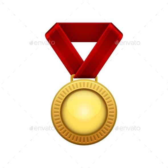GraphicRiver Champion Gold Medal with Red Ribbon 9140591