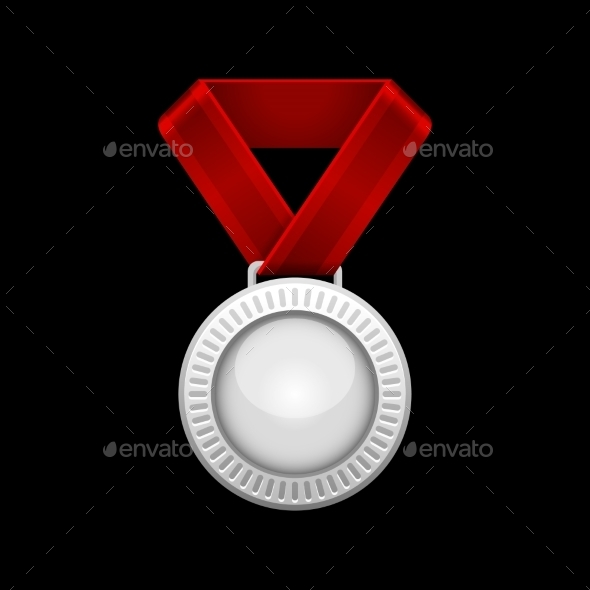 GraphicRiver Silver Medal with Red Ribbon 9140633