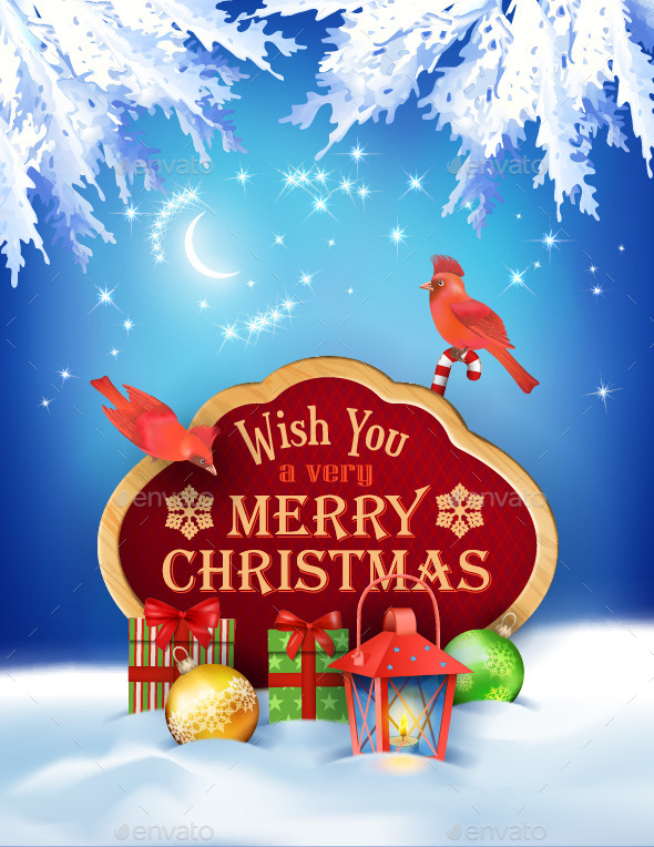 GraphicRiver Vector Christmas Winter Night Background 9140892