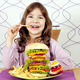 hungry little girl eat big hamburger and french fries - PhotoDune Item for Sale