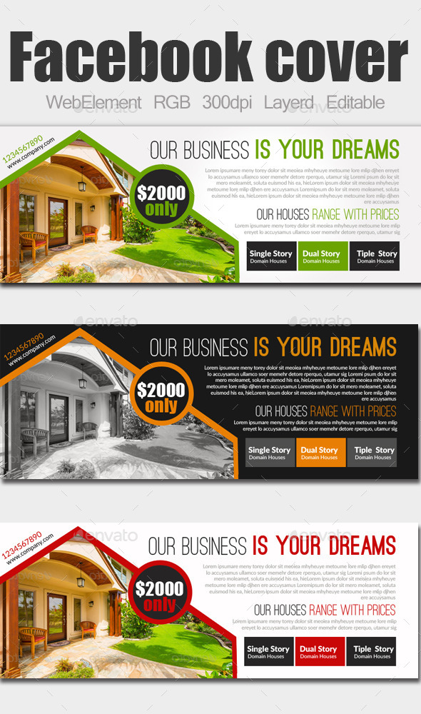 GraphicRiver Real Estate Facebook Covers 9143333