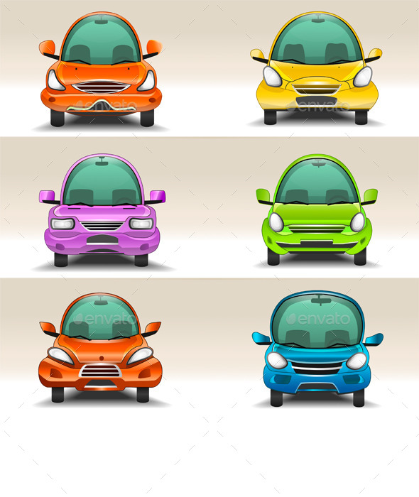 GraphicRiver Colorful Cartoon Cars Front View 9143533