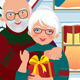 Elderly Couple Getting Gifts at Christmas - GraphicRiver Item for Sale