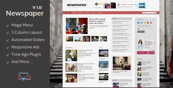 Newspaper - Responsive Blogger Template Download