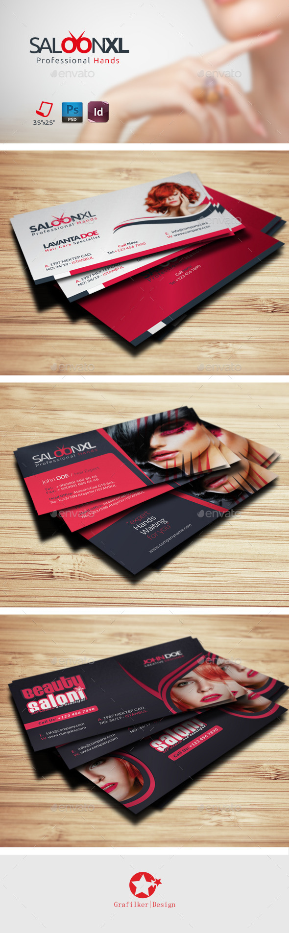 GraphicRiver Saloon Business Card Bundle Templates 9145037