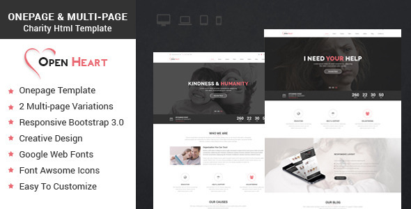 ThemeForest Open Heart Onepage & Multipage Charity Template 9059556